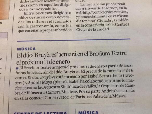 El Duo Bruyères al Diari de Tarragona, 03/01/2014, pàg. 11.