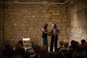 """Amb la compositora Marian Marquez, just després de l'estrena mundial de la seva obra """"Abril"""", per a flauta sola, dedicada a Isabel Serra Bargalló. Foto: Joan Abella Escuer"""
